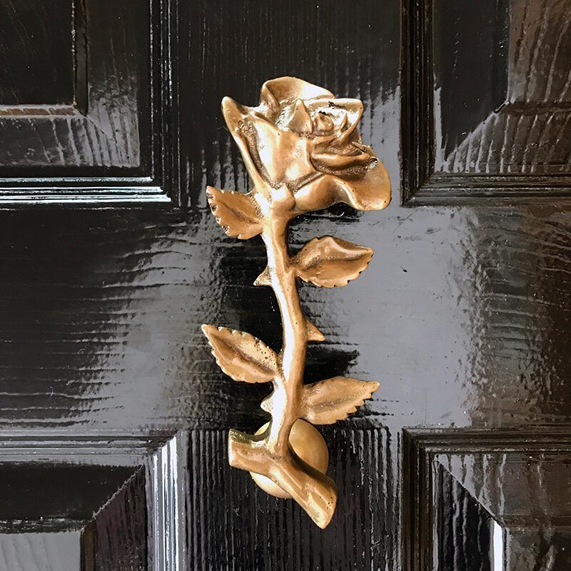Rose Door Knocker on blue door