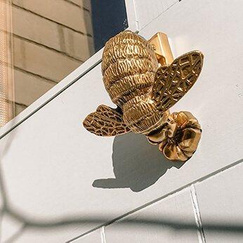 Brass Bee Door Knocker on wood and glass door